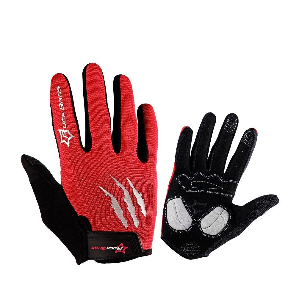 RockBros乗馬グローブMTB BMXバイクサイクリング滑り止めミトンフル指Gelパッドメンズ手袋 B073QKYGC3 X-Large|レッド レッド X-Large