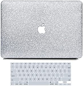 MacBook Air 13 inch Case A1369 A1466 Rlease 2010-2017, Anban Glitter Bling Smooth Protective Laptop Shell Slim Snap On Case with Keyboard Cover Compatible MacBook Air 13, Shining Silver