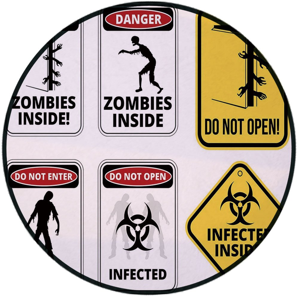 Printing Round Rug,Zombie Decor,Warning Signs for Evil Creatures Paranormal Construction Do Not Open Artwork Mat Non-Slip Soft Entrance Mat Door Floor Rug Area Rug For Chair Living Room,Multicolor