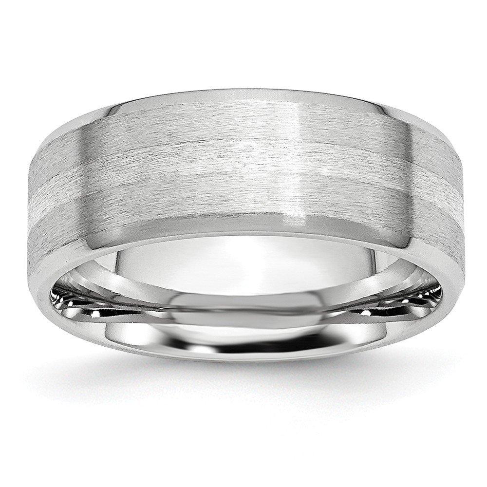 Best Designer Jewelry Cobalt Sterling Silver Inlay Satin//Polished Beveled Edge 8mm Band