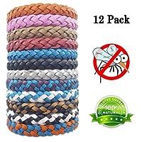 Loowoko Mückenschutz Armband, 12 Stück Anti Moskito Mückenarmband Naturals Insektenschutz Anti Mücken Armband Repellent Armbänder für Outdoor und Indoor