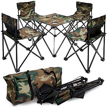Camping klappstuhl mit tisch  AMANKA Camping-Tisch-Set Falttisch mit 4 Klappstühlen inkl ...