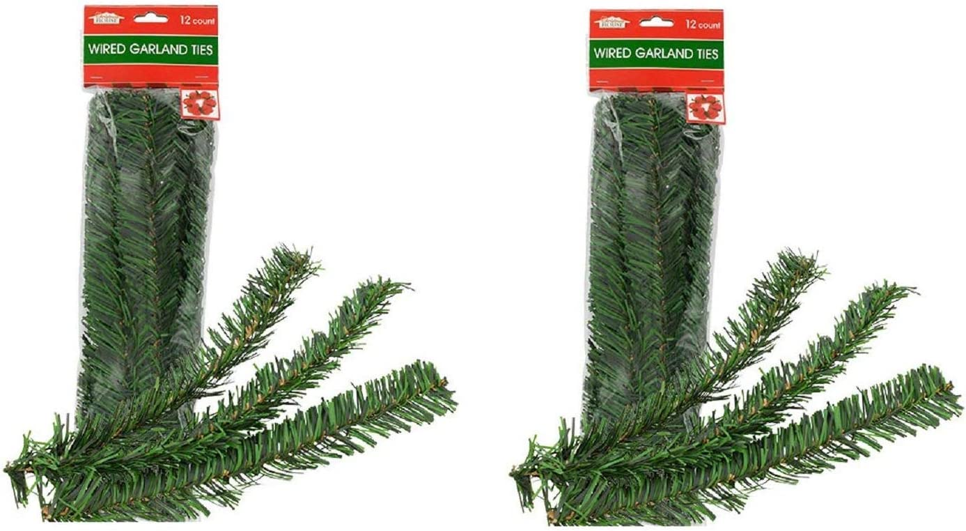 Christmas Holiday Holly Flexible Garland Ties - 24 Count - 12 Inch
