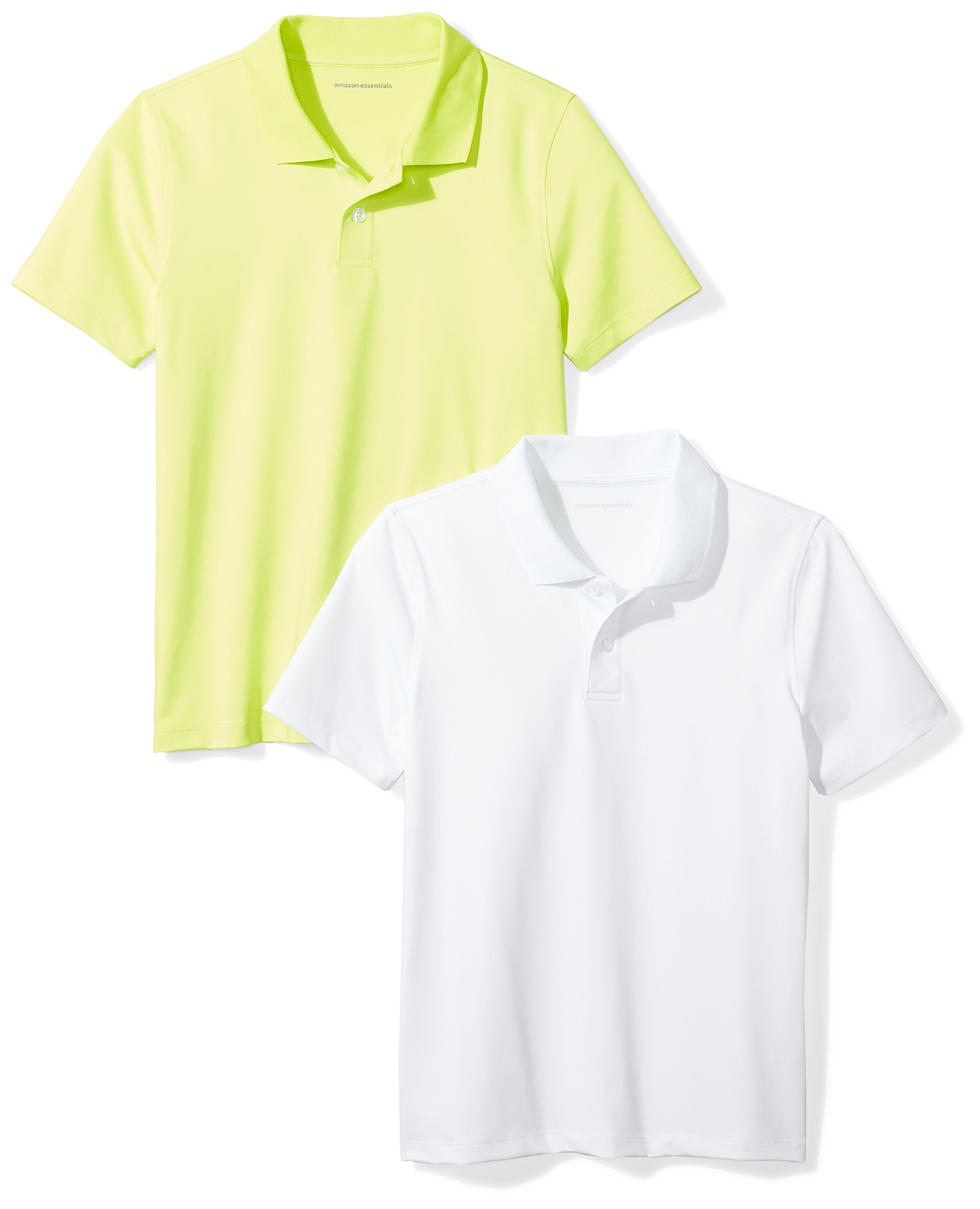 Amazon Essentials Toddler Boys' 2-Pack Performance Polo, Lime/White, 2T by Amazon Essentials