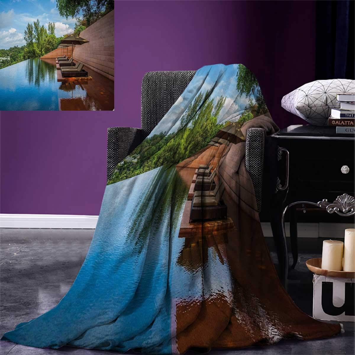 Anniutwo Nature Warm Microfiber All Season Blanket Sofa in Water Hotel Furniture Resort Vacation Seascape Travel Holiday Print Image Blanket 62''x60'' Redwood Green Sky Blue