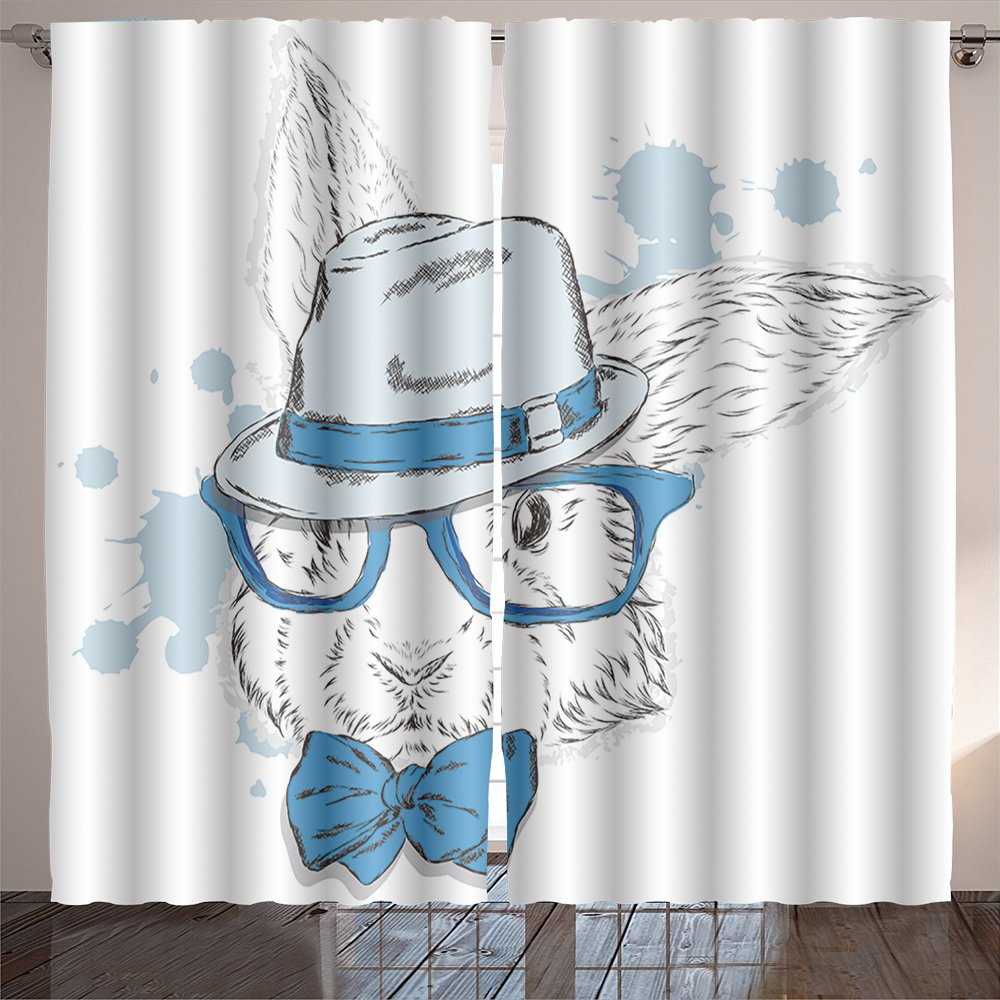 Nalahome the rabbit in the hat vector animal hipster fashion style vector illustration for a greeting Curtains for Bedroom Living Room 84x108 inches