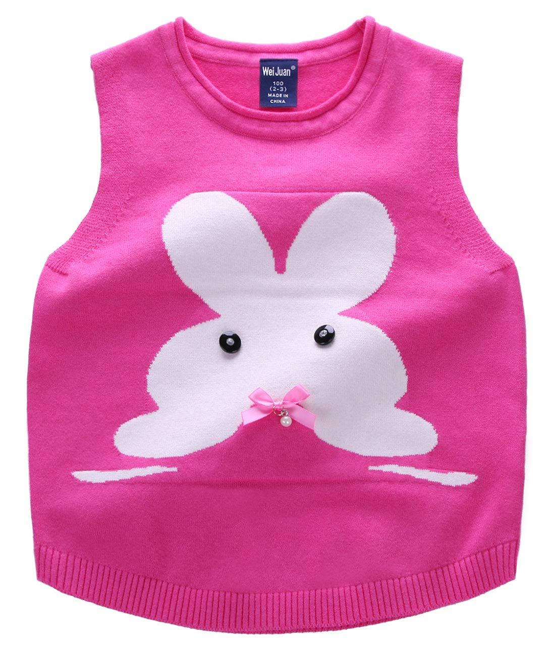 Girls Sweater Vest Durable Sleeveless Pullover Rabbit Pattern Bowknot Round Neck Gilet 4-5T Rose