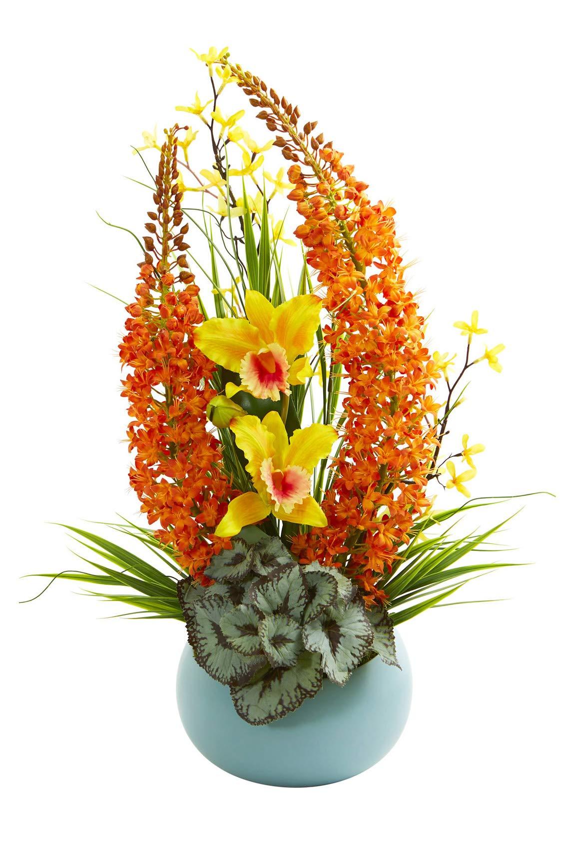 Silk Flowers 23 Inch Cattleya Orchid And Fox Tail Arrangement With Blue Vase Artificial Flowers Silk Flower Arrangements