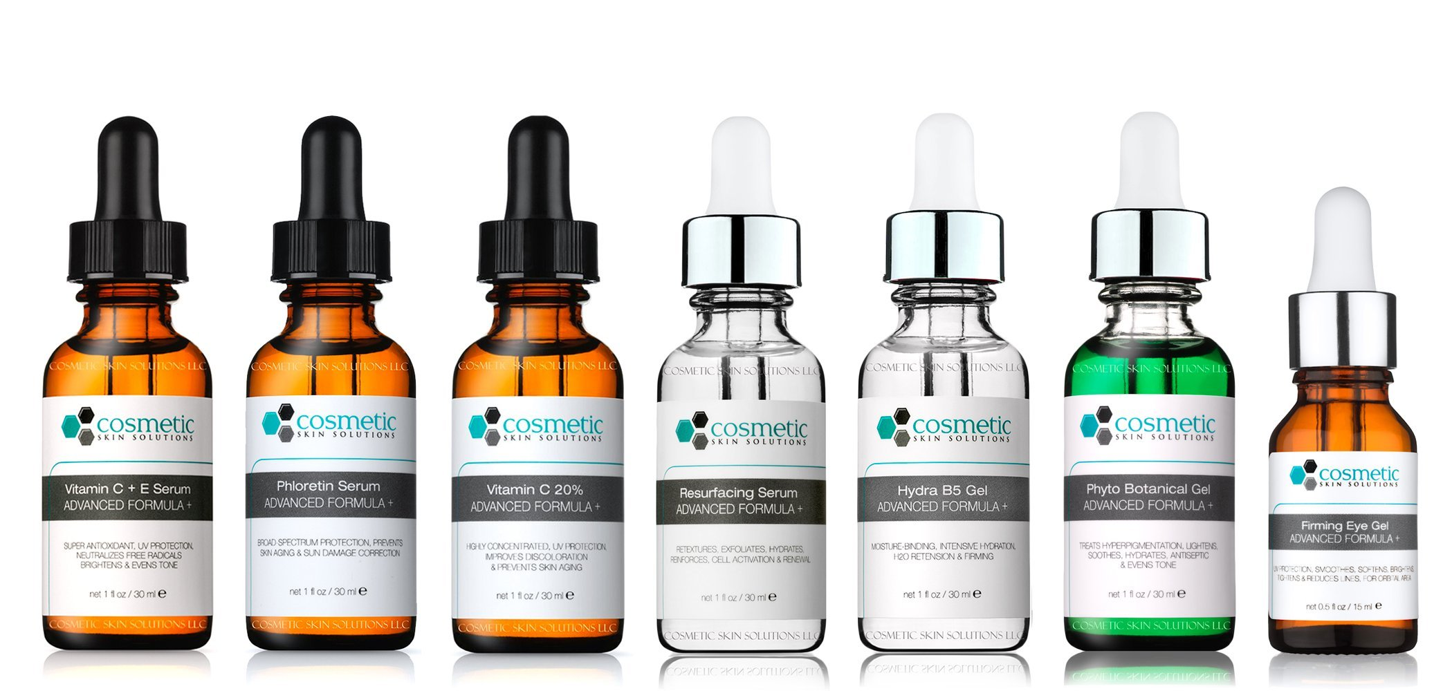 7 Combo Pack Includes EXCLUSIVE SET - Vitamin C+E, Phloretin, C 20%, Resurface, Phyto, B5, Eye, Advanced Formula, PROFESSIONAL ANTIOXIDANTS, 100% SAFE, & MOST EFFECTIVE, No Parabens or Oils