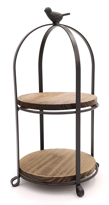 KeKaBox Farmhouse Birdcage Style 2 Tier Wood and Bronze Metal Kitchen Tabletop Shelves (Round)