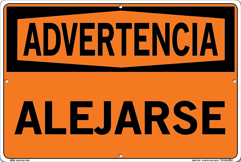 0.063 Overall Size 10.5 W x 7.5 H Aluminum Vestil SI-W-04-A-AL-063-S KEEP OFF//ALEJARSE Warning Sign