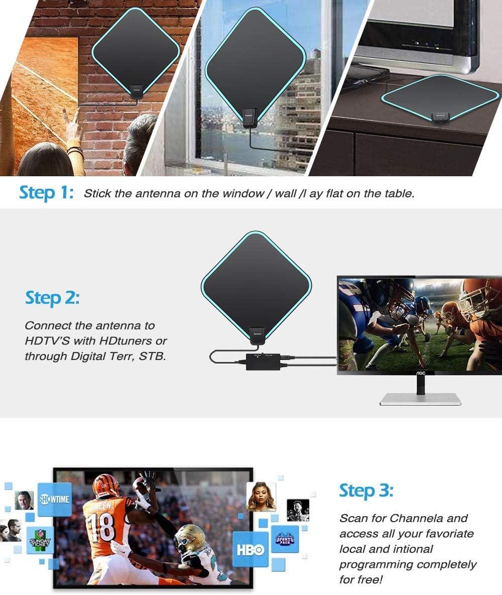 HTQ Antena TV Interior, Antena TV HD con Amplificador Señal 4K, Soporte de Canales Locales Gratuitos HD 4K 1080P, Alcance de Señal de 200 KM