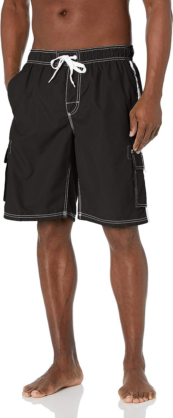 model in black swim trunk