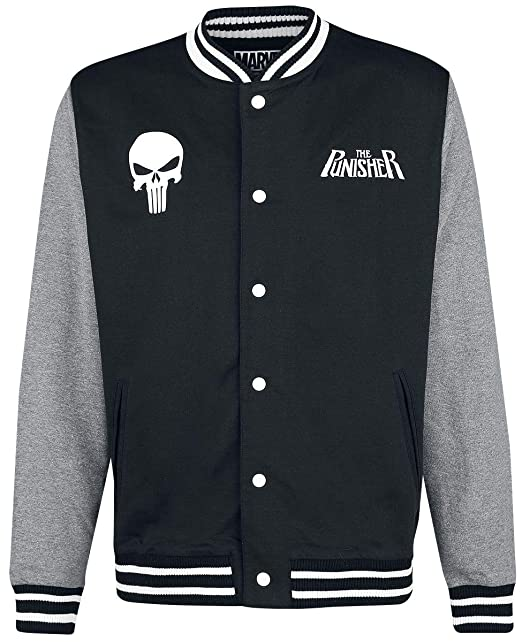 The Punisher Skull - Logo Chaqueta Universitaria Jaspeado Negro/Gris: Amazon.es: Ropa y accesorios
