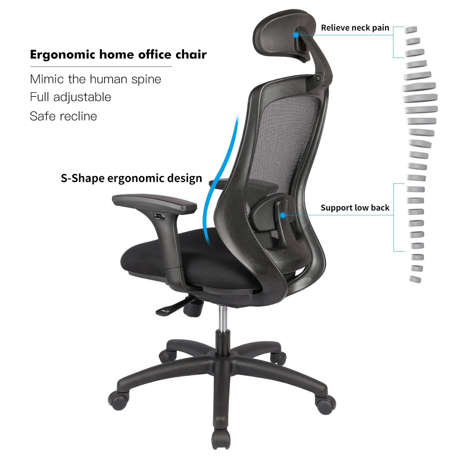 Amazon LONGEM Ergonomic fice Chair with Adjustable Back
