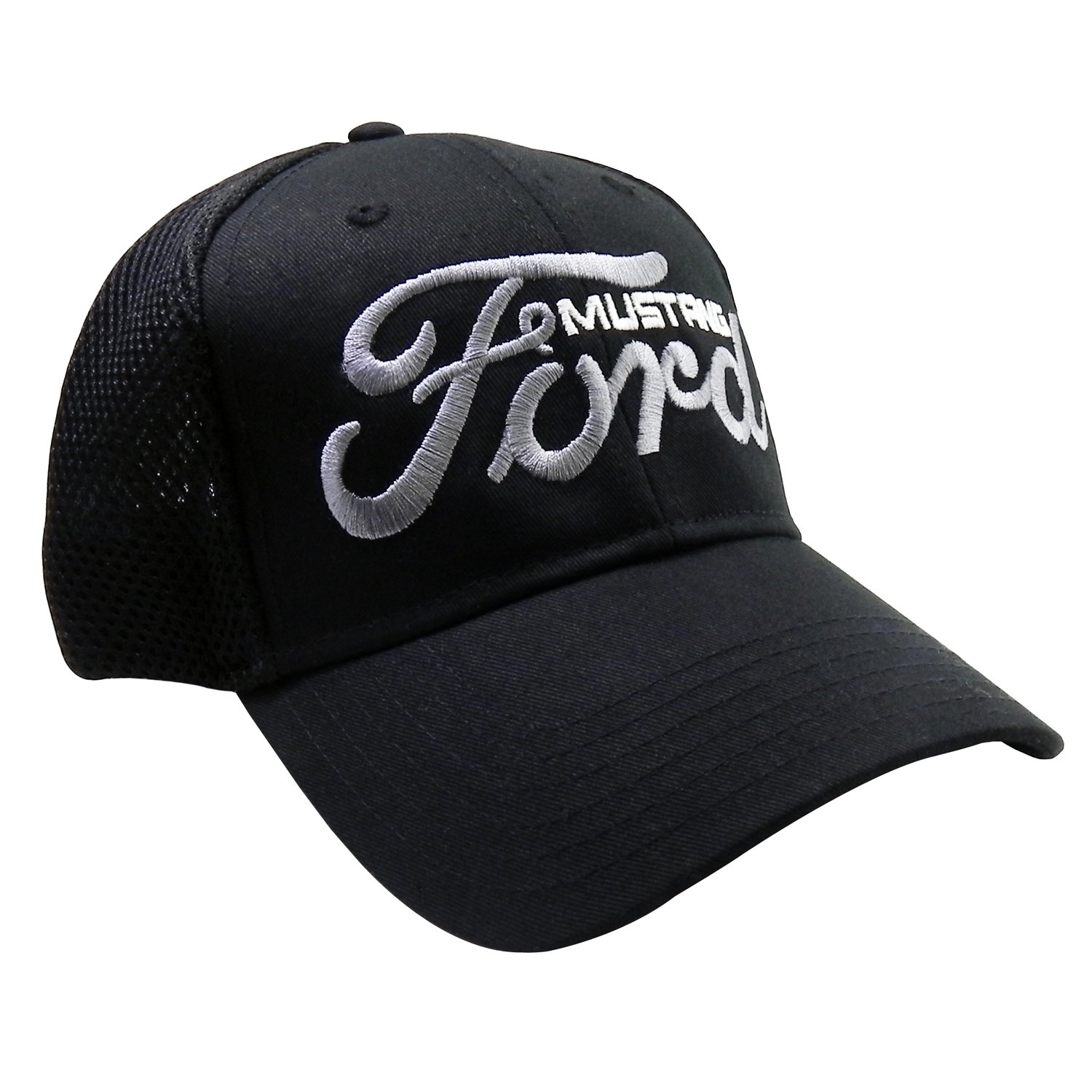Ford Script Logo with Mustang Black Baseball Cap Hat Hot Rods Plus