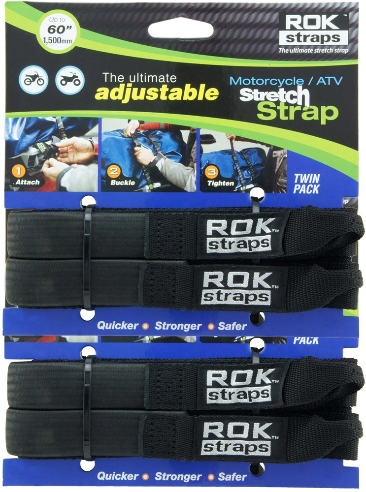 ROK Straps ROK-10025-2PR Black 18'- 60' Motorcycle/ATV Adjustable Stretch Strap, 2 Pair