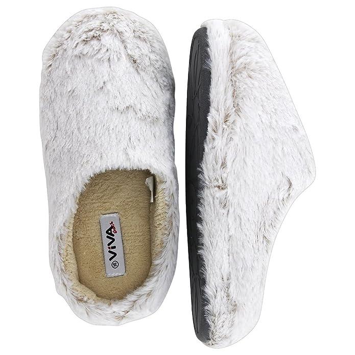 brandsseller Damen Hauspantolette Flausch Pantoffeln Schlappen - Fraben: Hellgrau - Beige - Größen: 37 c3fRjhDH