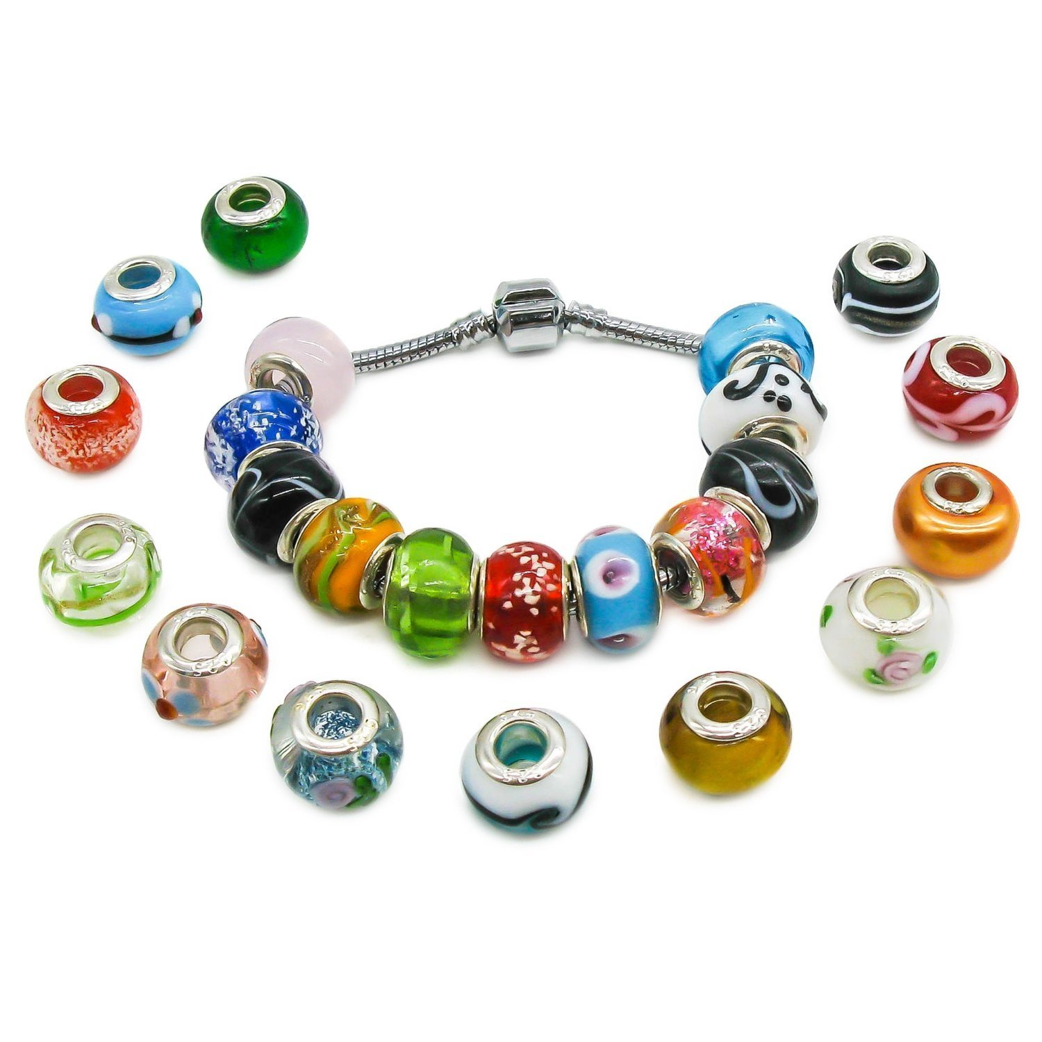 sterling beads jewelry bracelets silver women fit european murano pattern collections bangles products charms glass