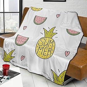 AUISS Plush Throw Velvet Blanket Watermelon and Pineapple Fluffy Fleece Carpet Camping Sofa for Women Soft Sleep Mat Pad Flannel Cover for Fall