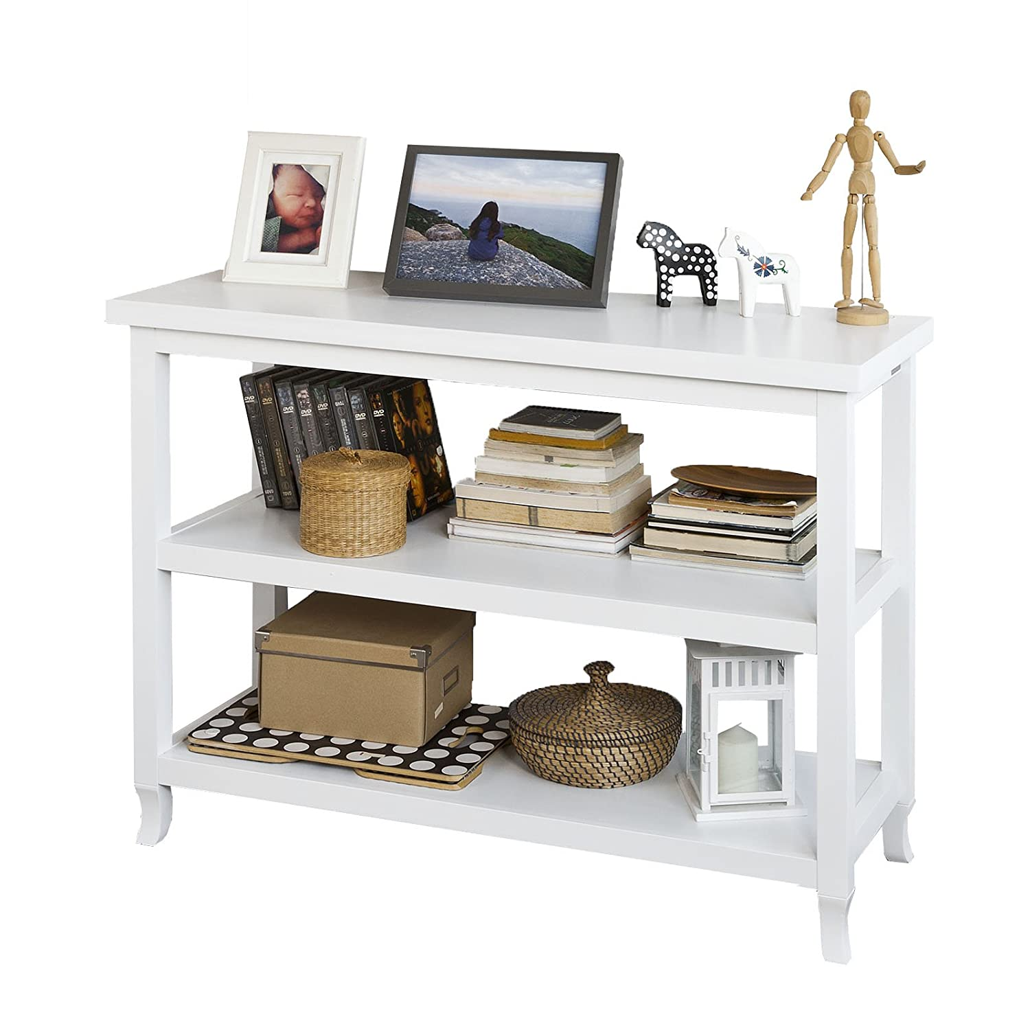 SoBuy® FSB06-W, Console Table Side Table in 3 Shelves, W110 x D40 x H80cm, White