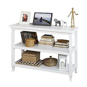 SoBuy® FSB06-W Table Console Table d'appoint 2 étagères L110cm x H80cm x P40cm - Blanc