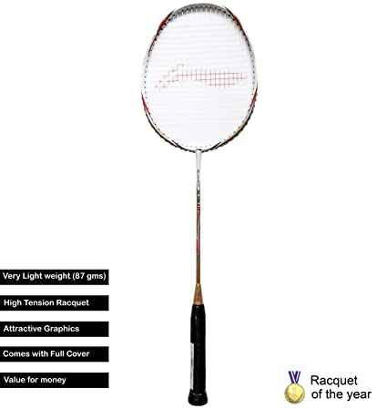 Li Ning Turbo X 90 II Carbon Graphite Lightweight Strung Badminton Racquet, S2  White/Gold