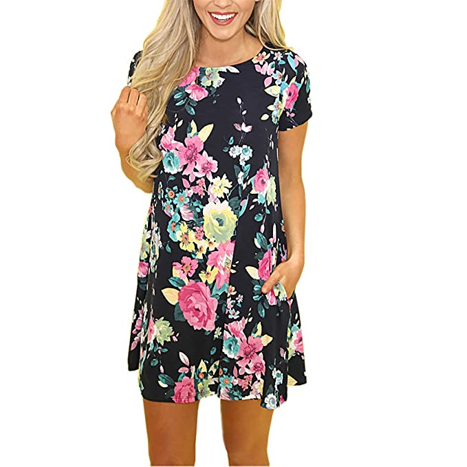4fd4483bf25 ChenLen Women Floral Swing T Shirt Dress Crew Neck Short Sleeve Loose Tunic  Dress with Pockets at Amazon Women s Clothing store