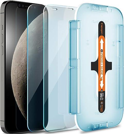 واقي شاشة من الزجاج المقسى من سبايجن [Glas.Tr EZ FIT] مصمم لهاتف ايفون 12 برو/ايفون 12 - حماية المستشعر/عبوة من قطعتين