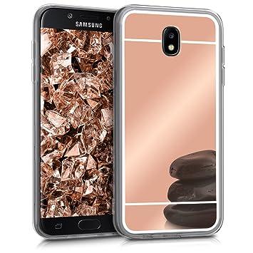 kwmobile Funda para Samsung Galaxy J5 (2017) DUOS - Carcasa Protectora [Trasera] de [TPU] para móvil en [Oro Rosa con Efecto Espejo]