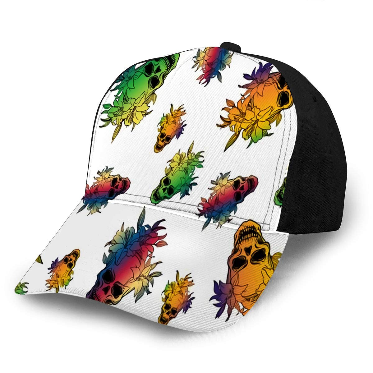 Baseball Cap Hats Adjustable Ute Colorful with Skulls and Lily Flowers Fashion