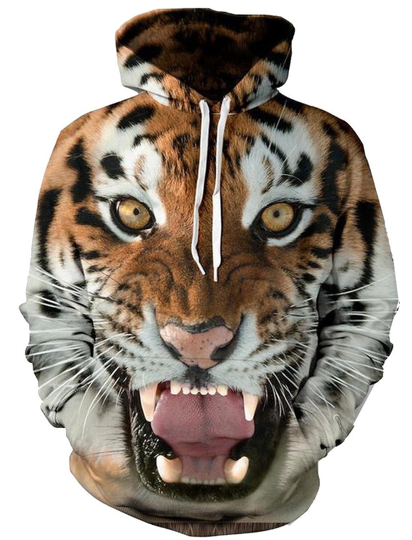 Abetteric Women Individuality 3d Digital Print Tiger Sweatshirt Hoodie