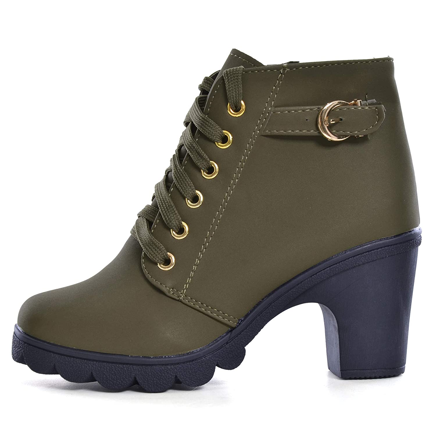 8820bea81b Amazon.com: Womens Ankle Boots Lace Up High Heel Comfort Fashion Buckle  Martin Boots Autumn Winter Womens Shoes: Shoes