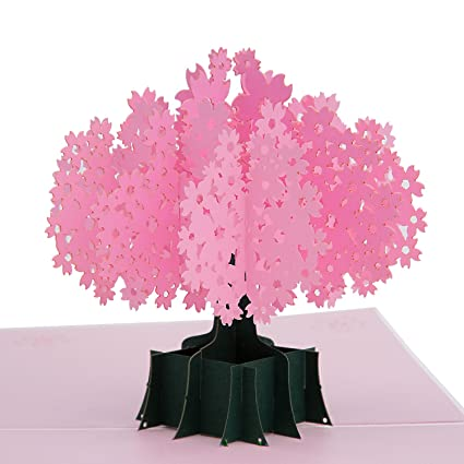AIEX Birthday Card 3D Pop Up Cherry Blossom Greeting Cards For Daughter Son