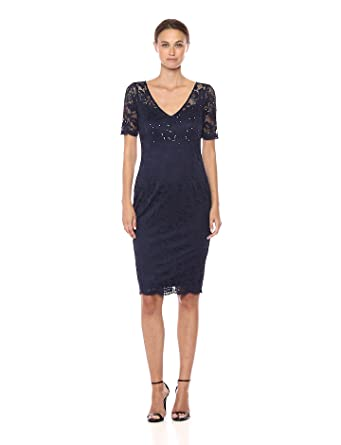 9179b8c5c72 Adrianna Papell Women s Paisley St. Lace Short Sheath Dress at ...