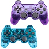 Wireless Controller for PS2 Playstation 2 Dual Shock (Pack of 2,ClearBlue and ClearPurple) (Color: ClearBlue and ClearPurple)
