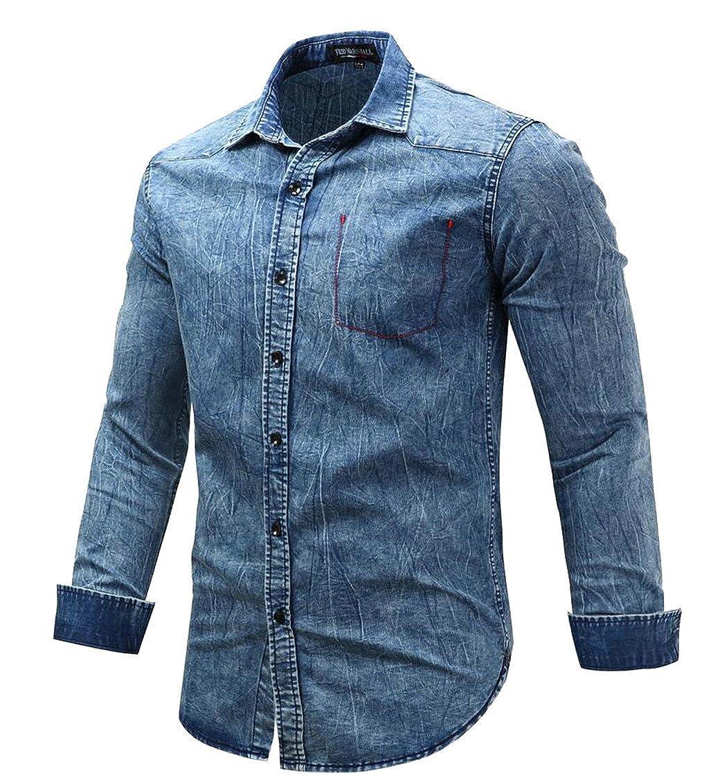 heymoneyMen Fashion Long-Sleeved Solid Colored Slim Button Up Shirts Shirt