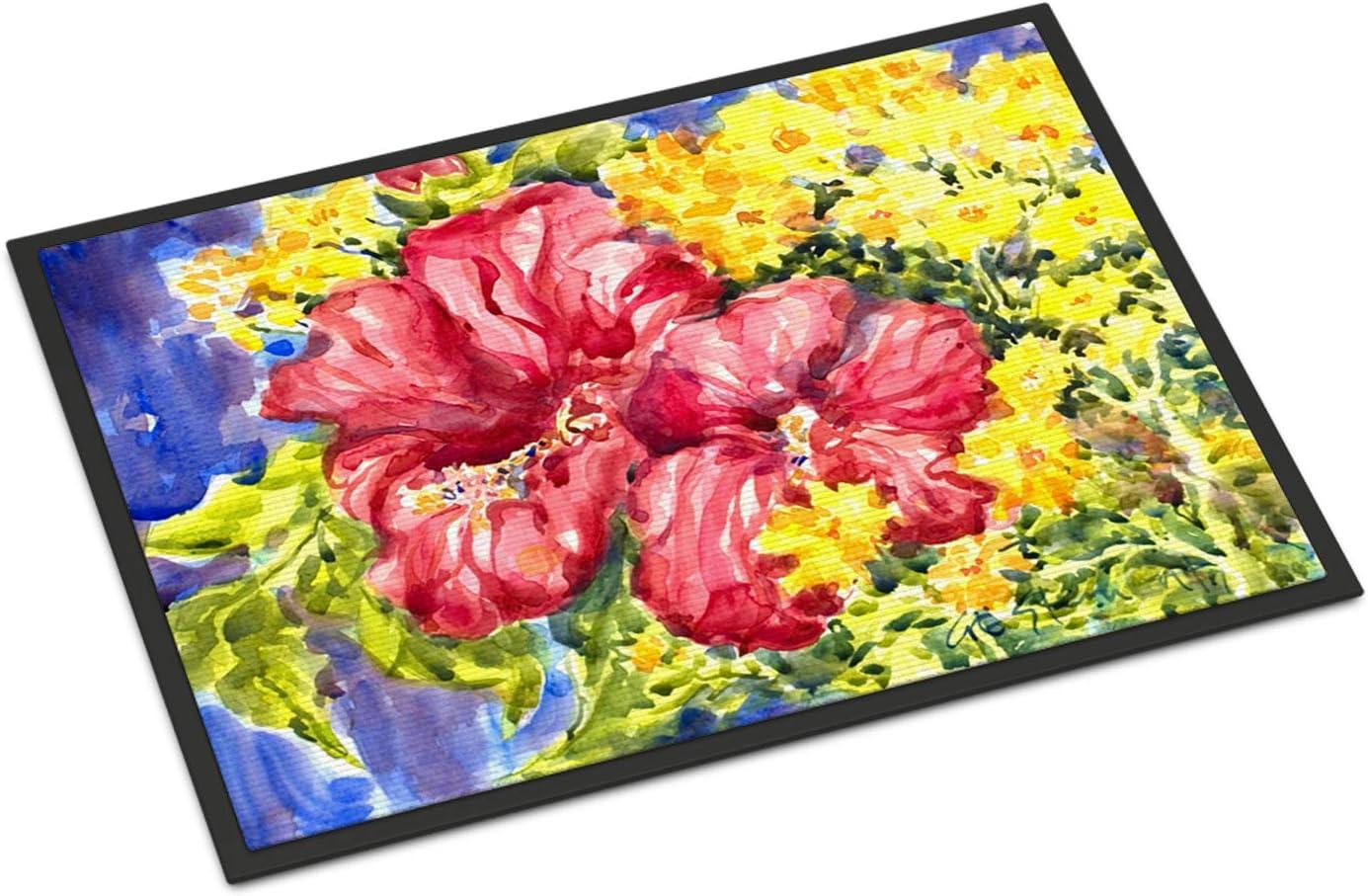 Caroline s Treasures 6056JMAT Flower – Hibiscus Indoor or Outdoor Mat 24×36 Doormat, 24H X 36W, Multicolor