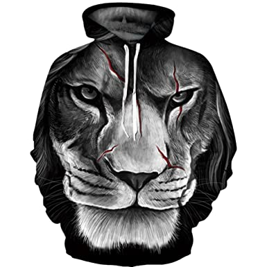 Amazon.com  ArtistMixWay Men Fashion 3D Animal Wolf Lion Print Pullover Hoodies  Sweatshirts  Clothing e783a62d8ea7