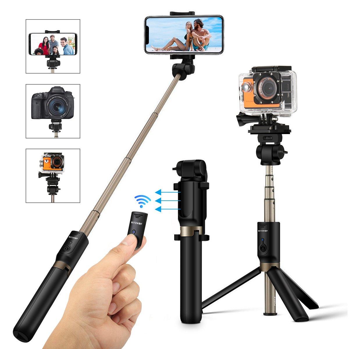 Perche Selfie Trépied avec Télécommande, BlitzWolf 4 en 1 Bâton Selfie  Bluetooth Monopode Extensible pour Caméra Gopro iPhone X / 8 / 7 / 7 Plus/  6s/6/5s, ...