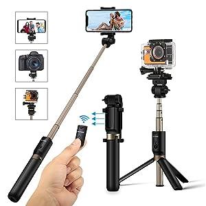 Selfie Stick Stativ mit Fernbedienung, BlitzWolf 4 in 1 Verstellbare Selfie-Stange Stab Monopod für Gopro Kamera iPhone X/ 8/ 7/...