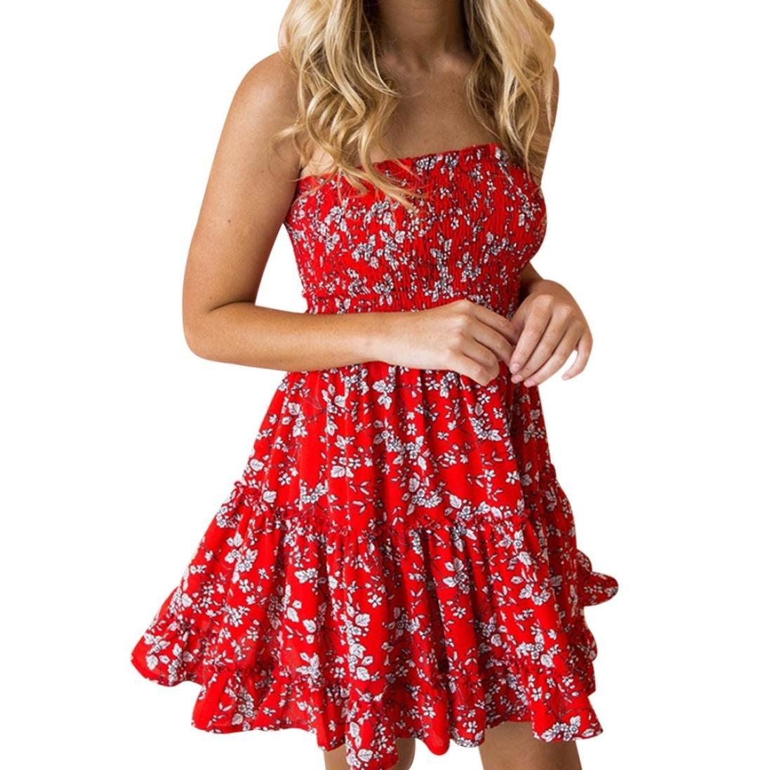 Hunzed Women Dress, Sexy { Summer Printing Dress } Casual { Off Shoulder Beach Sundress } Lady { Mini Princess Dress } (Red B, L)