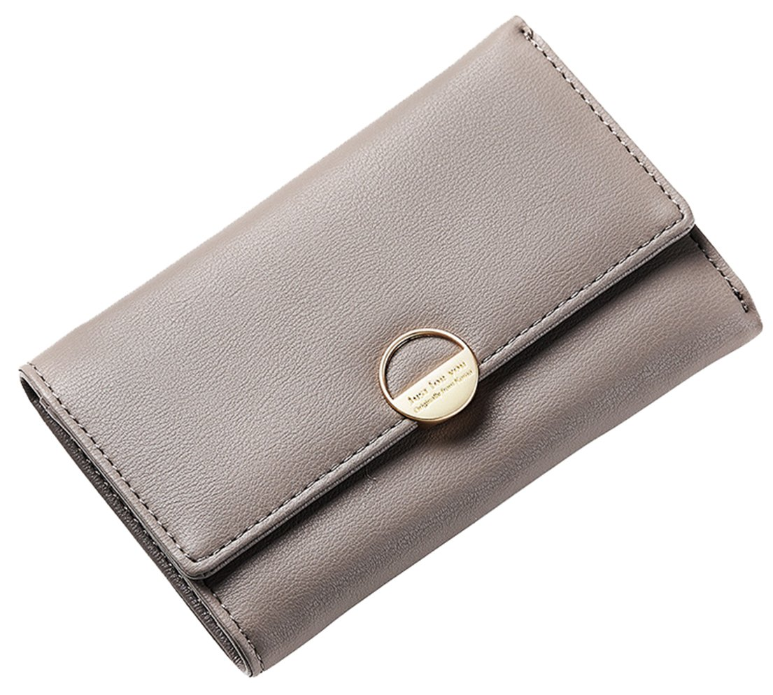 Femaroly Women's Hand Holding Long Trifold Wallet Multi-Card Large Capacity Purse Package Money Clip for Women and Girls Gray