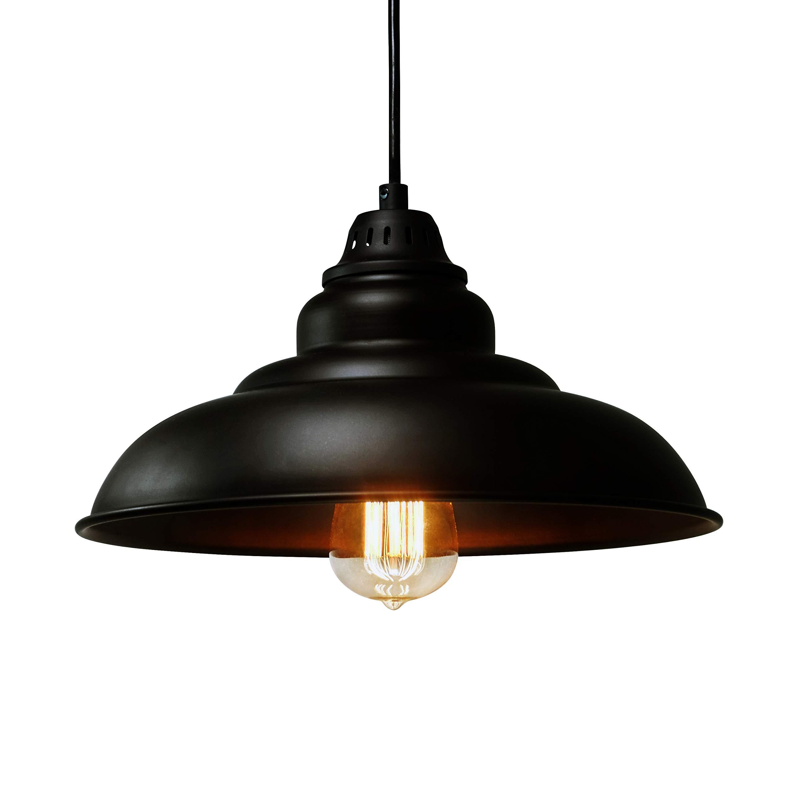 Barn Pendant Lights, FINXIN 1-Light Hanging Light for Kitchen Dining Table FXPL01 Black Bronze 12'' Ceiling Dome Pendant Lighting E26 Base (Black)