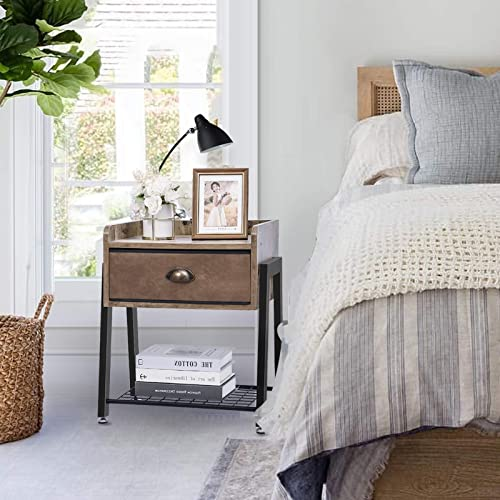Nightstand-Wood-Bedside-Table-with-Drawers-End-Table-Rustic Side Table