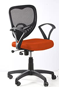 SEAT CHACHA Silver Pan Back Chair ( Orange Fabric With Push Back Mechanism )