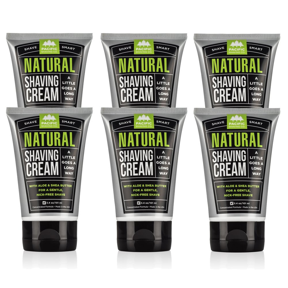Pacific Shaving Company Natural Shaving Cream - Safe, Natural, and Plant-Derived Ingredients for a Smooth Shave, Softer Skin, Less Irritation, Cruelty Free, TSA Friendly, Made in USA, 3.4 oz (6-Pack) by Pacific Shaving Company