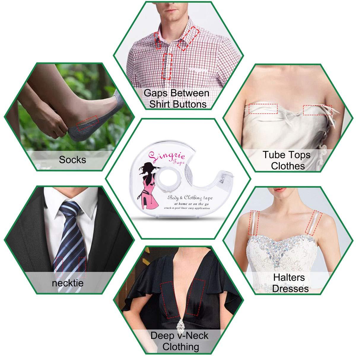 2 Rollen Fashion Tape K/örper Doppelseitiges Klebeband Transparent Clothing Tape f/ür BH Tr/äger Kleid Damen Bekleidung Zubeh/ör mit 1 Spender