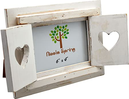 Nicola Spring White Wooden Heart Shutters Freestanding Photo Picture