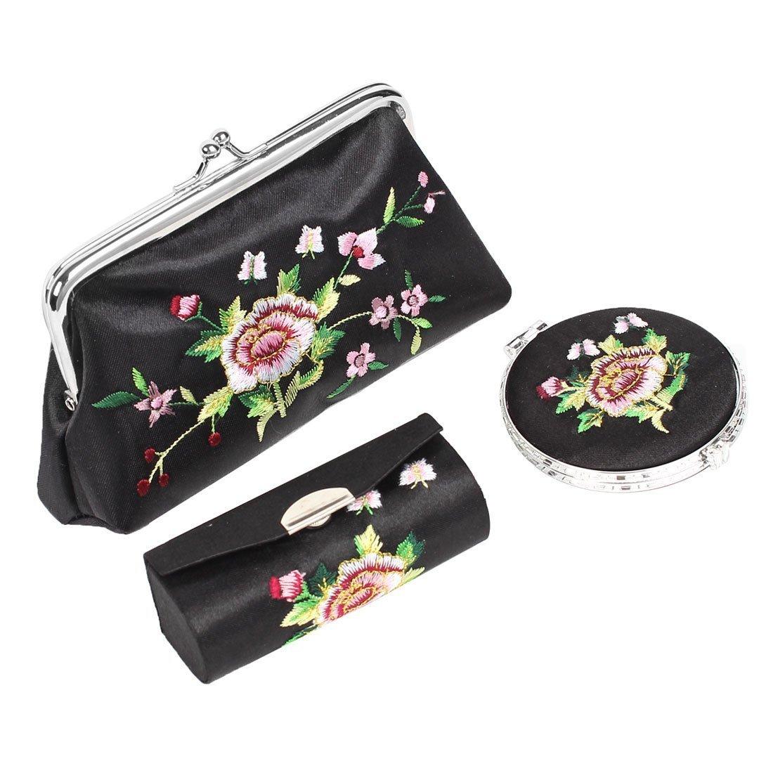 Amazon.com: Espejo de bolso del lápiz Labial Caja del sostenedor 3 Monedero eDealMax Bordado Floral en 1 Set Negro: Health & Personal Care
